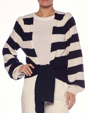 Brochu Walker BROCHU WALKER AYLA TIE CARDIGAN ATLAS STRIPE Tops