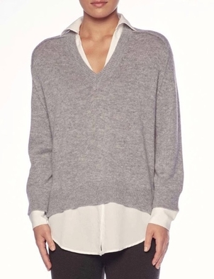 Brochu Walker BROCHU WALKER V-NECK LAYERED PULLOVER STERLING MELANGE Tops