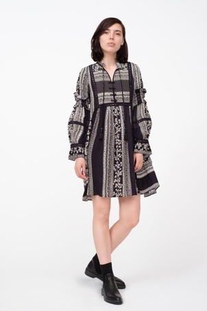 Sea SEA NEW YORK KEELY L/S TUNIC DRESS BLACK MULTI Dresses