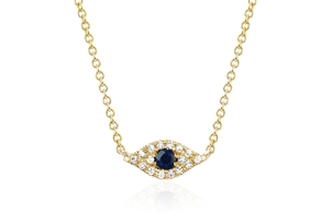 EF Collection 14k Yellow Gold Diamond Evil Eye Choker Necklace Jewelry