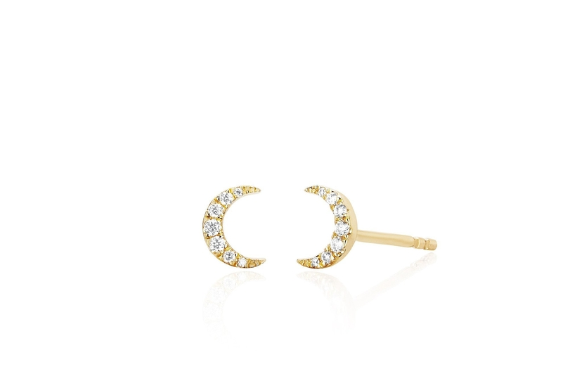 EF Collection 14K Yellow Gold Mini Moon Stud Earrings Jewelry