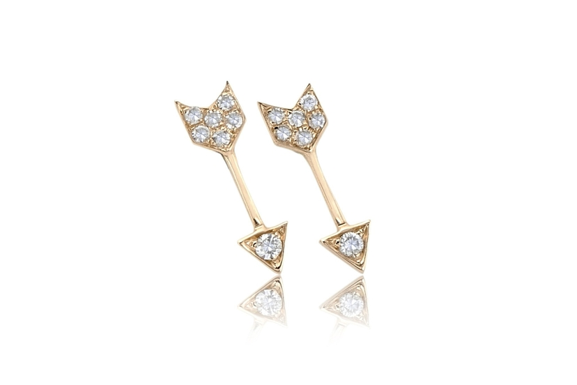 EF Collection 14K Yellow Gold Mini Single Arrow Stud Earring Jewelry