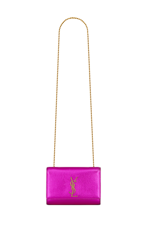 Saint Laurent Kate Chain Bag in Fuchsia Leather Bags