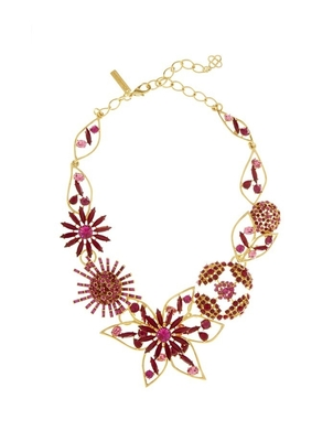 Oscar de la Renta Mixed Jewel Flower Necklace Jewelry