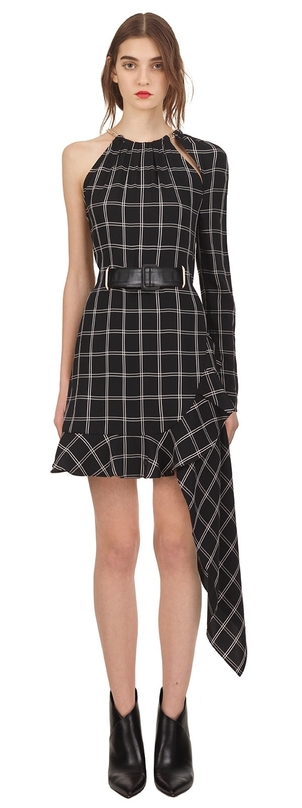 Self-Portrait Asymmetric Check Dress  Dresses