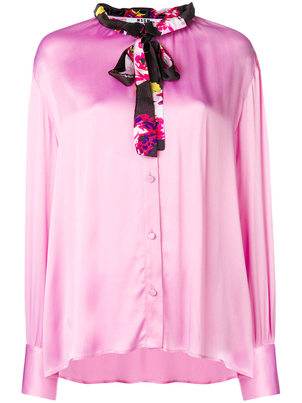 MSGM Pink Satin Blouse with Neck Tie Tops