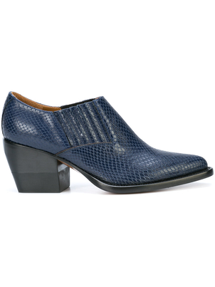 Chloé Navy Snakeskin Western Ankle Boots Shoes