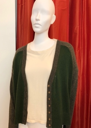 Raquel Allegra RAQUEL ALLEGRA CROPPED CARDIGAN GREENS Tops