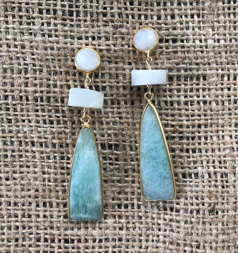 Theodosia Jewelry Moonstone, Larimar, & Sea Foam Chalcedony Drop Earrings Jewelry