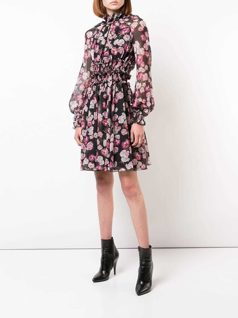 Giambattista Valli Black High Neck Floral Dress Dresses