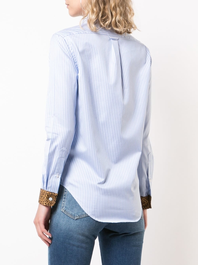 R13 Blue Stripe With Leopard Classic Shirt Tops
