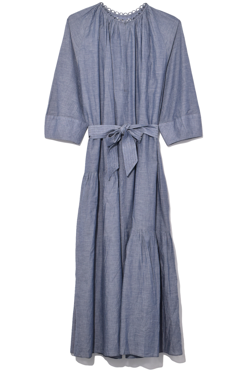 Apiece Apart Stella Shirred Tiers Dress in Chambray Dresses