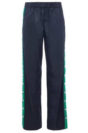 Tibi Tech Poplin Snap Pant in Navy/Green Multi Pants