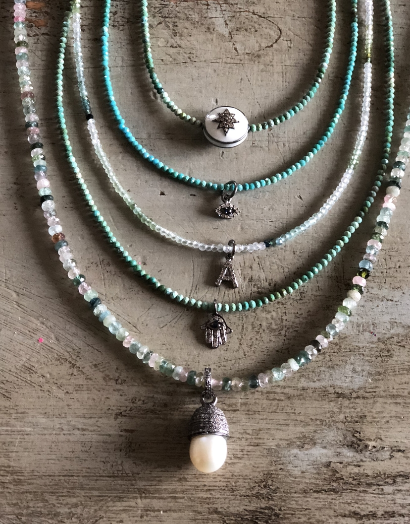 Theodosia Jewelry Turquoise & Multi Gemstone Necklaces with Assorted Pave Diamond Drops Jewelry