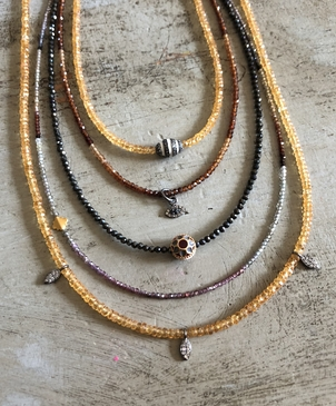 Theodosia Jewelry Orange & Multi Gemstone Necklaces with Assorted Drops Jewelry