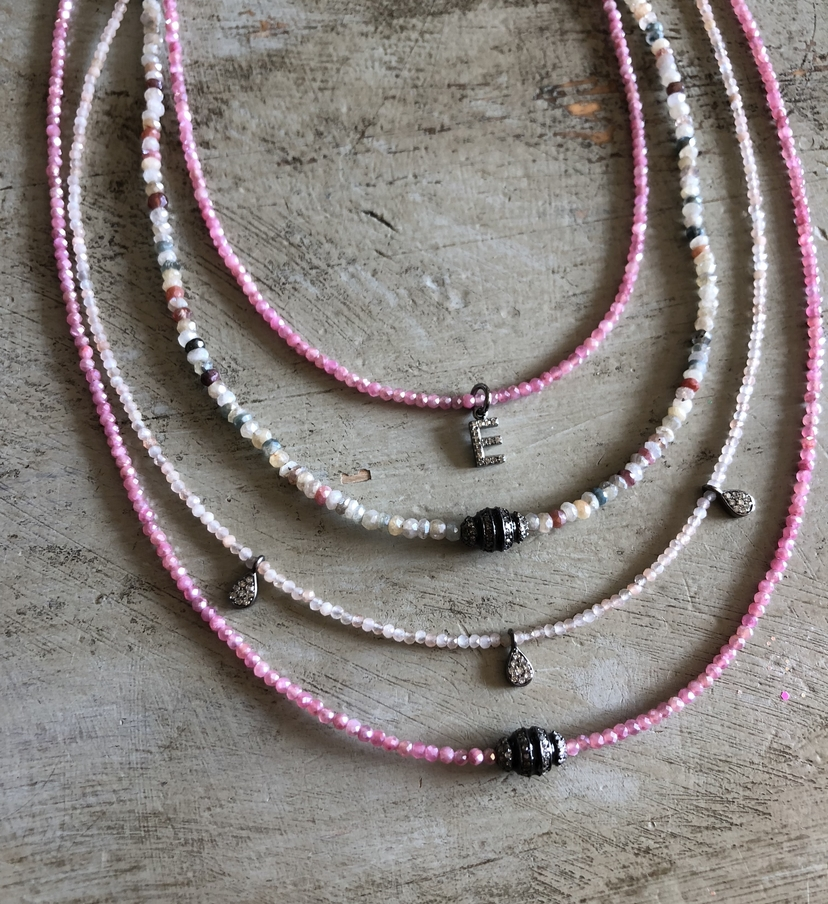 Theodosia Jewelry Pink & Multi Gemstone Necklaces with Assorted Pave Diamond Drops Jewelry