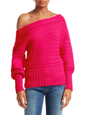 Tanya Taylor Marie Sweater - Hot Pink Tops