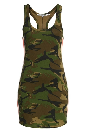 Pam & Gela Camo Print Side Stripe Tank Dress Dresses