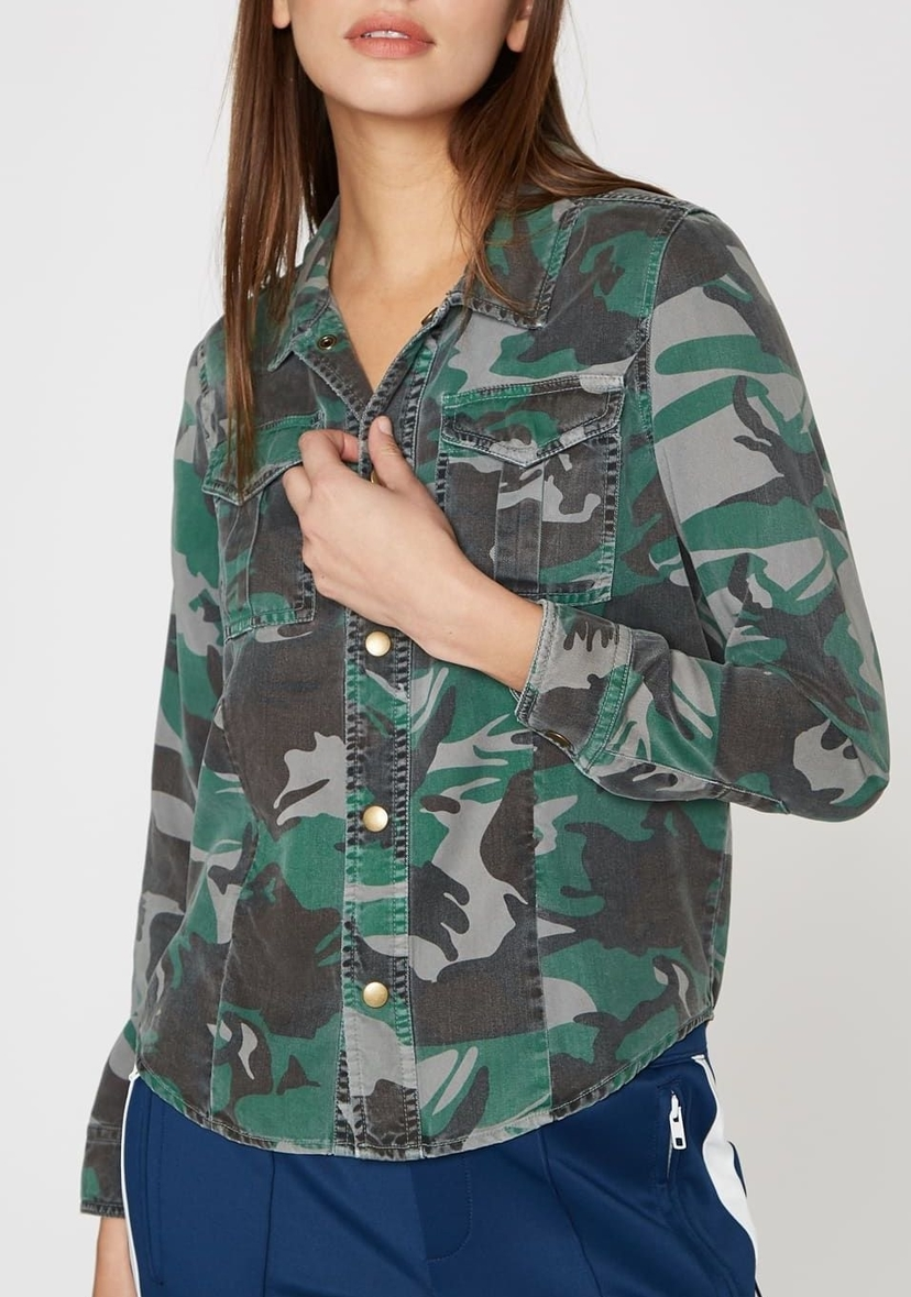 Pam & Gela Printed Shrunken Scout Shirt Tops
