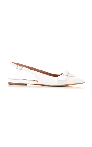 Tabitha Simmons Knotty White Nappa Flats Shoes