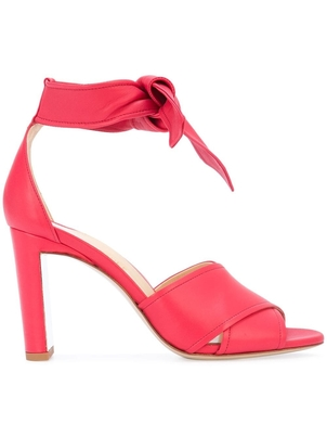 Marion Parke Red Leather Ankle Wrap Heels (Originally $595) Sale Shoes