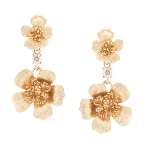 Oscar de la Renta Gold-Tone Flower Drop Earrings Jewelry