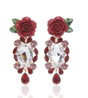 Dolce & Gabbana Rose and Crystal Embellished Earrings Jewelry
