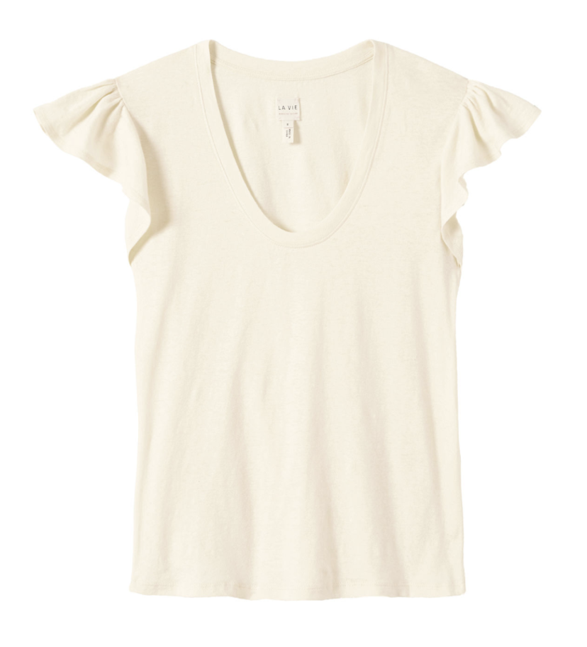 La Vie Rebecca Taylor Washed Textured Yellow Jersey Tee Tops
