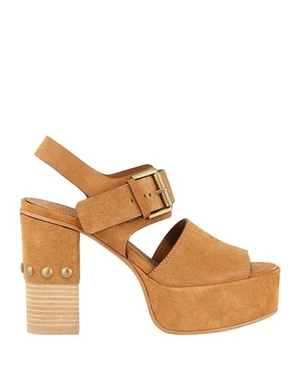 See by Chloé Suede Open Toe Platform Sandal Shoes