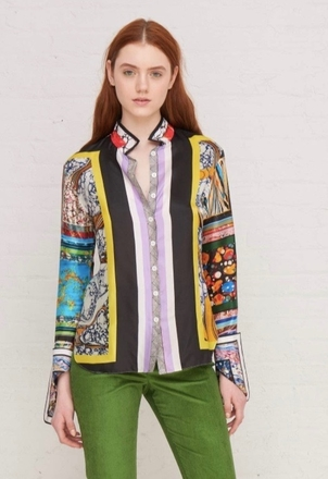 Rosie Assoulin ROSIE ASSOULIN BUTTON DOWN SHIRT MARBLE PRINTED VISCOSE TWILL Tops