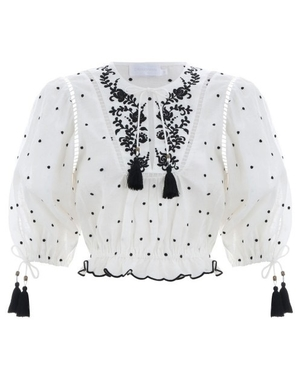 Zimmermann ZIMMERMANN TALI EMBROIDERED LOTUS TOP IVORY Tops