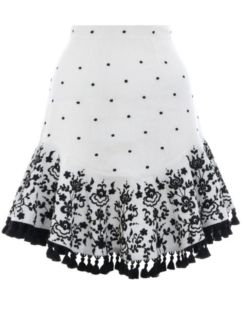 Zimmermann ZIMMERMANN TALI EMBROIDERED LOTUS SKIRT IVORY Skirts
