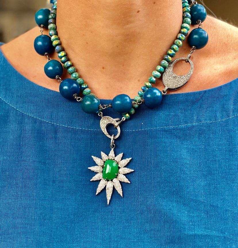 The Woods Fine Jewelry Blue and Green Necklace Combo Jewelry