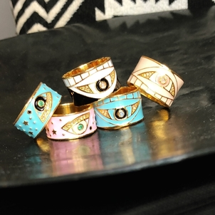 Theodosia Jewelry Enamel Evil Eye Rings Jewelry