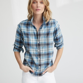 Barry Button Down – Faded Blue Plaid Brushed Twill