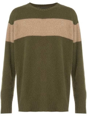 The Elder Statesman STRIPE CASHMERE CREWNECK SWEATER Men's