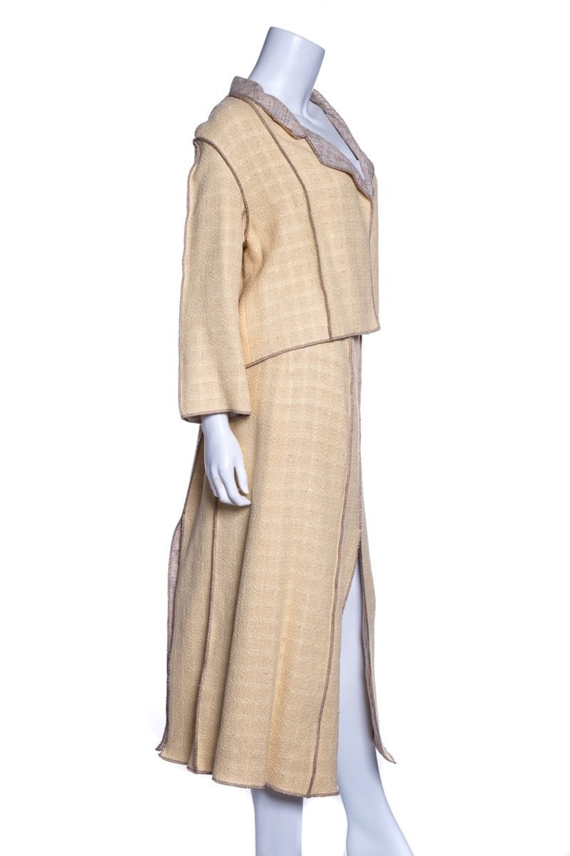 Chanel Chanel Pale Yellow 2 PC Knit Tweed Dress & Jacket SZ 42 sale Dresses