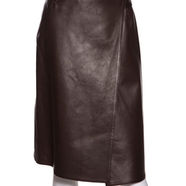 Chanel Brown Leather Cross-Over Skirt SZ 34 Sale