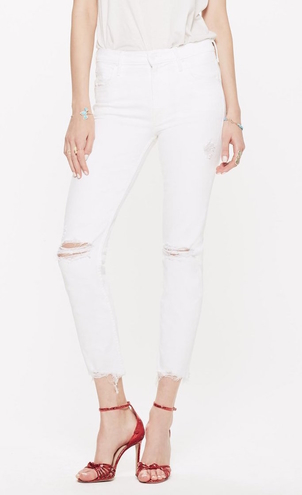 Mother The Flirt Ankle Fray in Almost Innocent White Pants