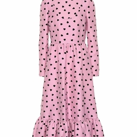 Pink and Black Heart Printed Dress