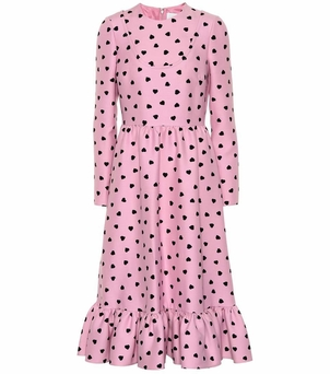 Valentino Pink and Black Heart Printed Dress Dresses