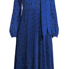 Blue and Black Heart Printed Dress