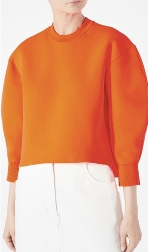 Tibi TIBI TECH POLY SWEATER SCULPTED SLEEVE CROPPED NEON ORANGE Tops