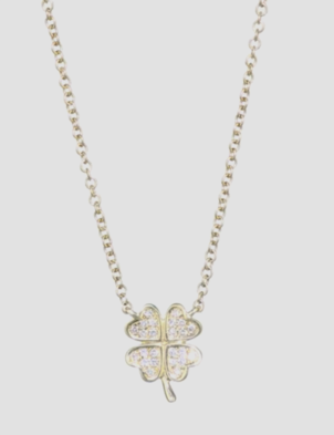 EF Collection 14K Yellow Gold Diamond Luck Clover Necklace Jewelry