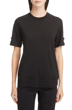 Simone Rocha Beaded Bow Sleeve Tee Tops