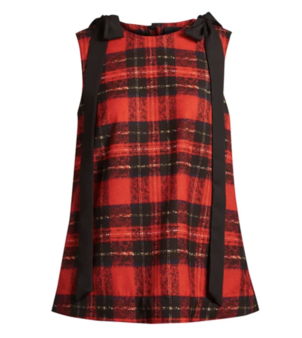 Simone Rocha Bow-trim Tartan Georgette Top Tops