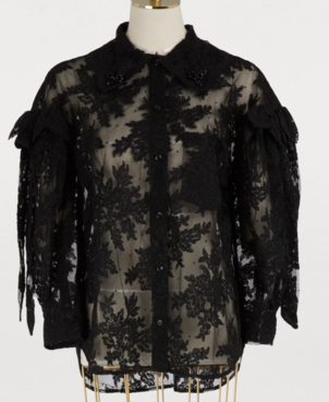 Simone Rocha Corded Lace Shirt - Black Tops