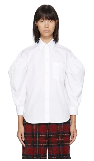 Simone Rocha White Beaded Bow Drop Sleeves Shirt Tops