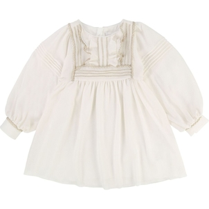Chloé GIRL COUTURE DRESS W/ GOLD TRIMMED RUFFLES