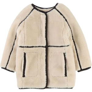 Chloé girl coat w/ contrasting braid & patch pockets
